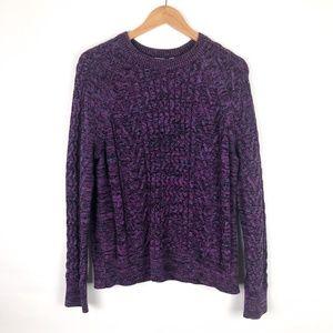 GAP Sweaters - GAP Purple Marled Cableknit Crewneck Sweater